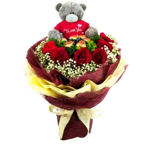 Breathtaking Valentines Special Bunch of 6 L'amour Belgian Chocolates and 12 Red Roses