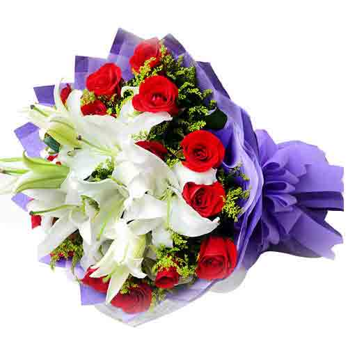 Appealing Compilation of 10 Red Roses with Three Casablanca Lilies for Valentines Day