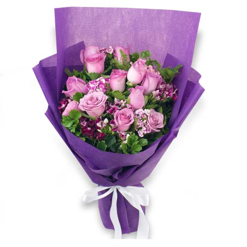 Dazzling Arrangement of Twelve Purple Roses