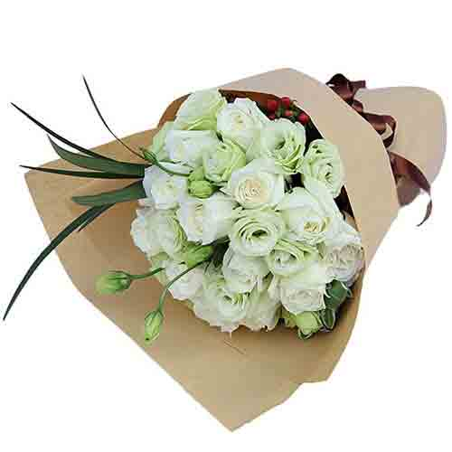 Elegant Selection of 2 Dozen White Roses N Champagne Eustomas<br/>