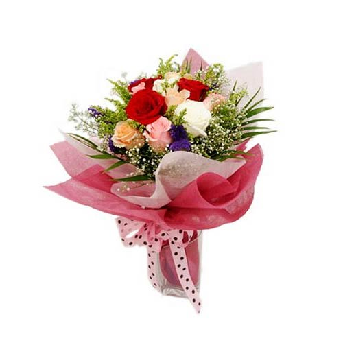 Silky Rush of Color Assorted Flower Bouquet<br/>