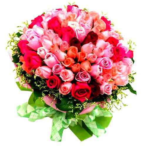 Aromatic Arrangement of Eighty Stem Colorful Roses <br/>