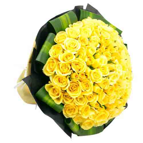 Vibrant Arrangement of Fifty Roses in Yellow
