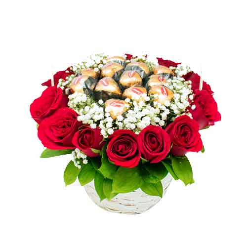 Rich and Admiring Blooms Basket with Fine Chocolates <br/>