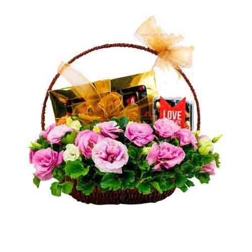 Treasured Basket of Blooming Love Flowers and Chocolate