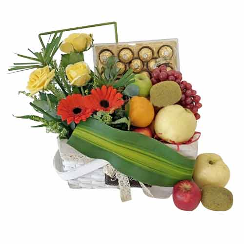 Exotic Silver Collection Fruits Assortments Basket