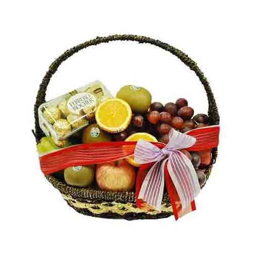 Premium Various Fruits N Ferraro Rocher Basket