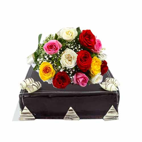 Surprising Multicolored Roses N Macquerie Chocolate Ganache Cake