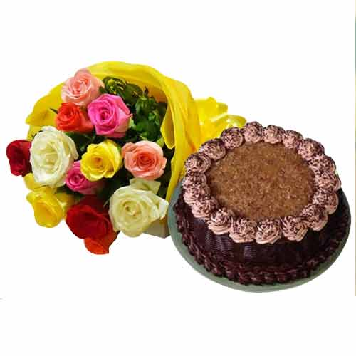 Chocolate-Flavored Chocolate Filling Cake and Multicolored Roses Bunch