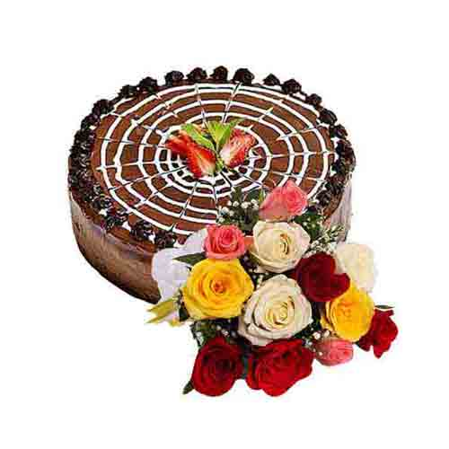 Caramelized Cherries N Nuts Chocolate Cake with Multicolored Roses