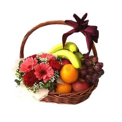 Gentle Arrangement of Mixed Flowers and Fruits