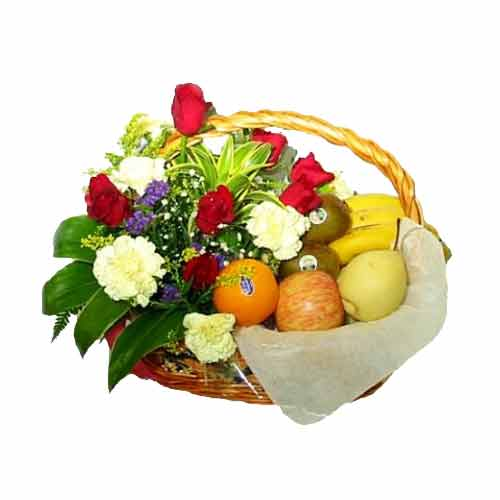 Ravishing Celebration Party Fresh Fruits and Mix Flowers Bunch
