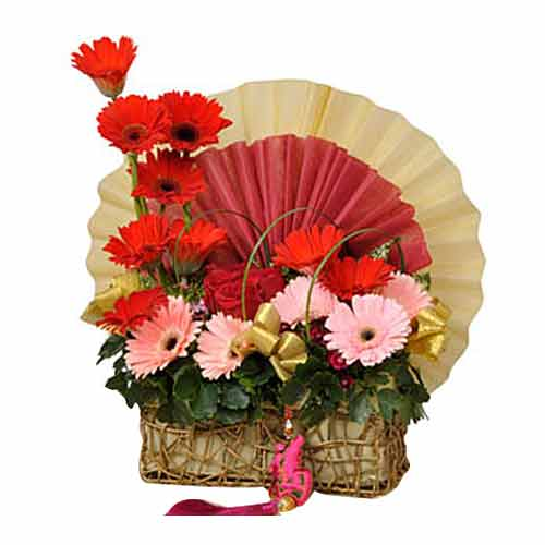 Clustered Multicolored Gerberas Arrangements