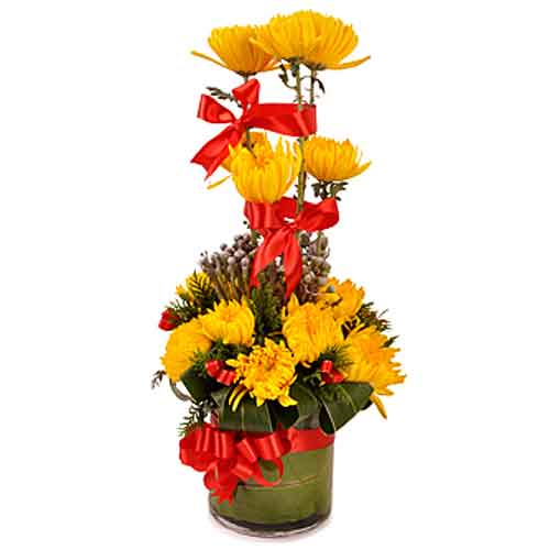 Fragrant Collection of Chrysanthemums potted in a Vase