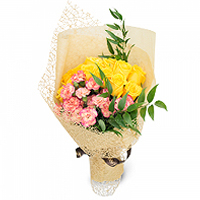 Jewel-Toned Embracing Love Yellow Roses Bouquet