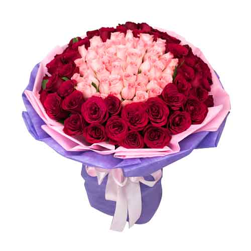 Precious 50 Pink N 50 Red Roses Bouquet