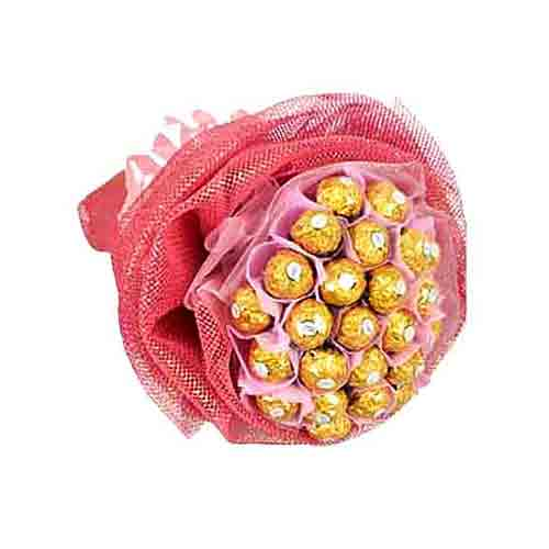 Delicious Present of 36 Pink Ferraro Rocher Chocolate Bouquet<br>