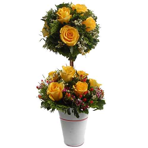 Charming Explosive Elegance Rose Topiary