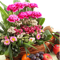 Fresh-Picked Combination of Vivid Flowers N Fruits in a Basket
