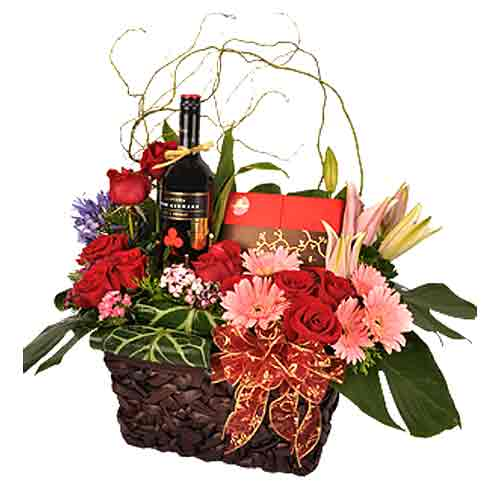 Captivating Arrangement of Various Flowers in a Basket