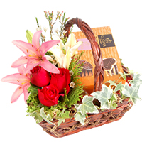 Delightful Seasons Greetings Gift Basket with Assorted Flowers
