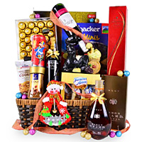 Classy Festive Goodness Gourmet N Champagne Gift Basket