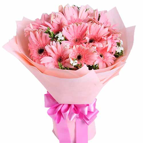 Color-Coordinated Bouquet of 10 Stalks of Pink Gerberas <br>