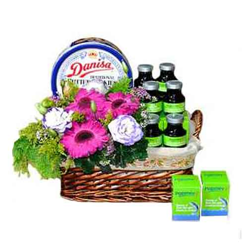 Charming Perfect Combination Flower and Healthy Products Basket<br>
