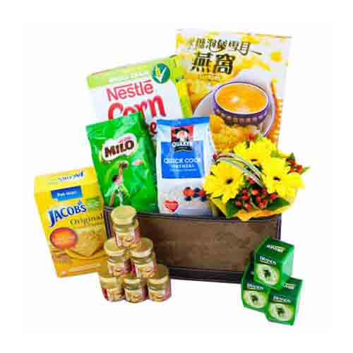 Mesmerizing Time for Celebration Flowers Healthy Treat Basket<br>