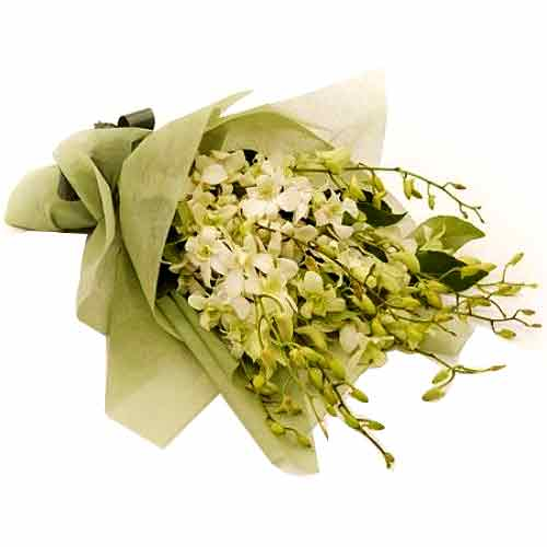Cherished Gentle Caresses White Orchids Bunch<br>
