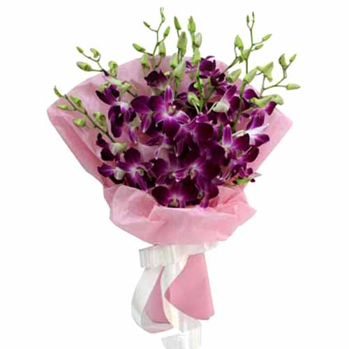 Ornamental Floral Euphoria Purple Orchids Hand Bouquet <br>