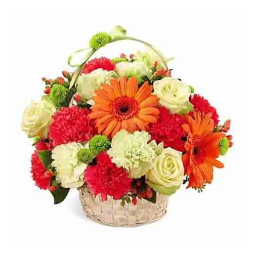 Radiant Embracing Love Carnations Basket<br>