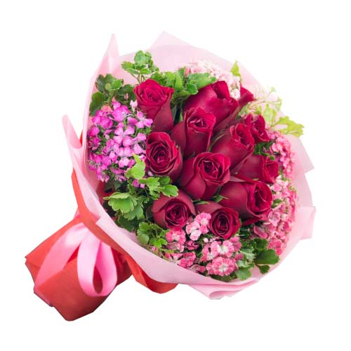 Delightful Red Color Roses Bunch