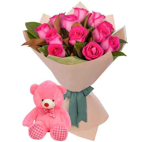 Brilliant Pink Color Roses Hand Bunch with Cute Teddy