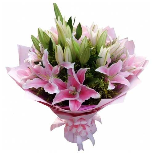 Graceful Pink Lilies Bunch