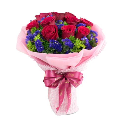 Pretty Red Color Roses Bunch