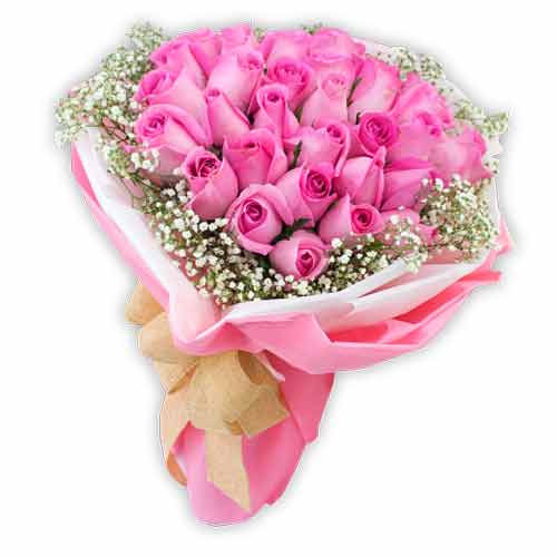 Striking Pink Color Roses Bunch