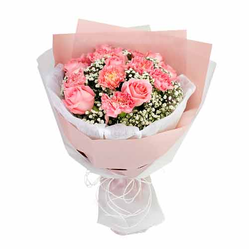 Radiant Pink Color Carnations N Roses Bunch