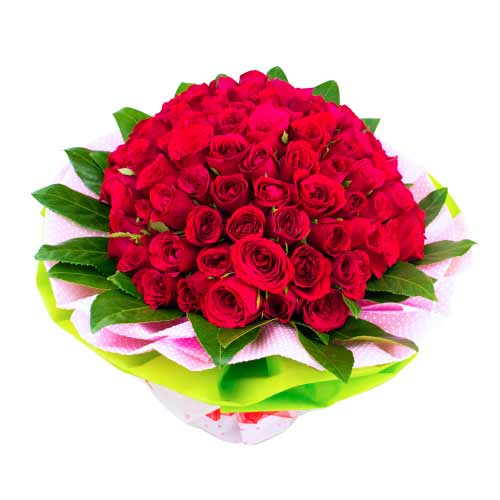 Majestic Bunch of Fifty Red Color Roses