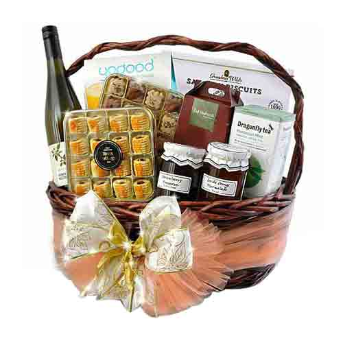 Classy Festive Cheer Gift Basket with Wine