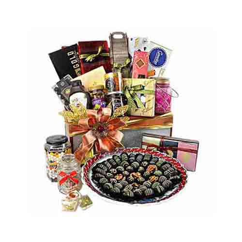 Festive Fiesta Gourmet Gift Basket with Chocolate Tray